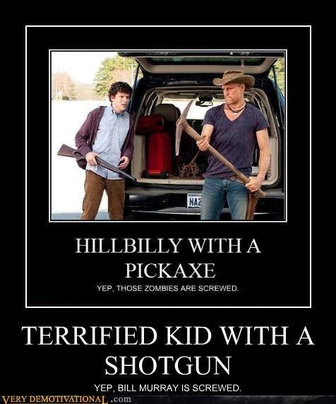bill murray guns hilarious pickaxe shotgun the social network whoops headshot woody harrelson Zombieland zombie - 4089160704