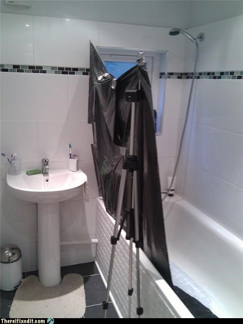 bathroom,garbage bag,shower curtain