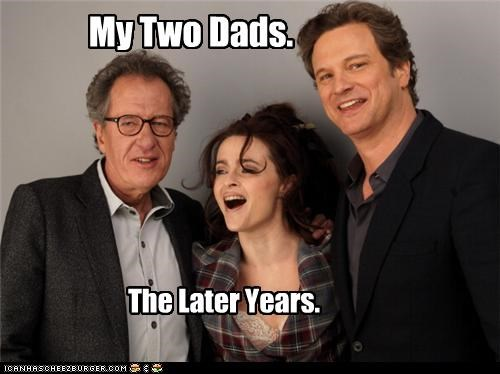 actors,dads,gay,Geoffrey Rush,helena bonham-carter,lolz
