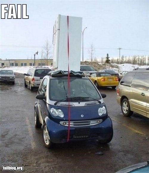 bad idea car cargo failboat g rated smart car too small transportation - 4091587840