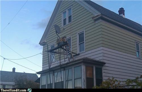 satellite,satellite dish,scaffolding,unstable