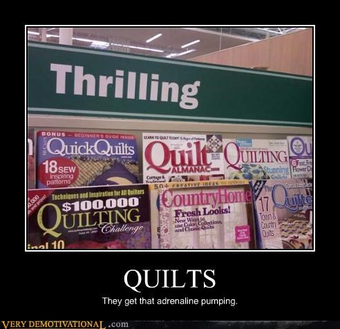 adrenaline,impossible,quilts,quilts rule,reading sucks,thrilling