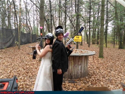 bride and groom in paintball gear,bride paintball,Crazy Brides,crazy groom,fashion is my passion,funny wedding photos,groom paintball,paintball wedding,stress reliever wedding,surprise,unique wedding,were-in-love,Wedding Themes
