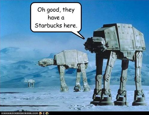 consumerism,imperial at-at walkers,lolz,sci fi,star wars,Starbucks