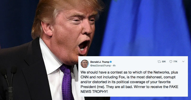 Donald Trump tweets out about how fake news outlets should get a fake news trophy.