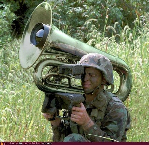 army guy,art,binoculars,Music,spy,tuba,wtf