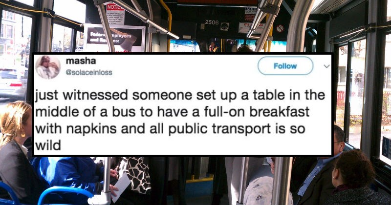 Tweets from people about the craziness you come across while using public transportation.