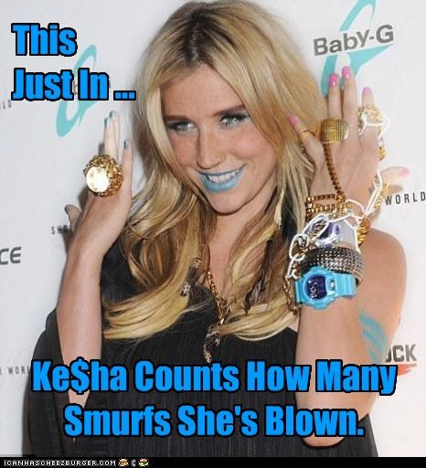This Just In ... Ke$ha Counts How Many Smurfs She's Blown.