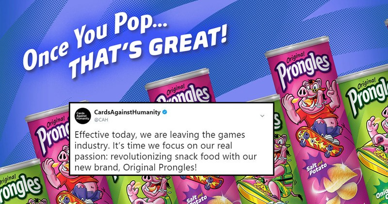 Funny list about Prongles, Cards Against Humanity's new chip brand, pringles, pigs, joke, parody, black friday parody, target.