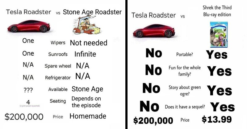 Funny memes about the TEsla Roadster.