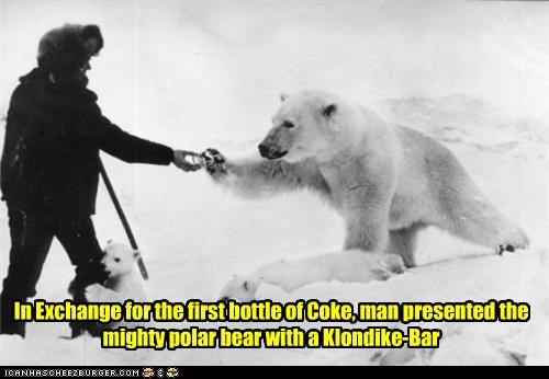 coke,hiker,klondike bar,polar bear