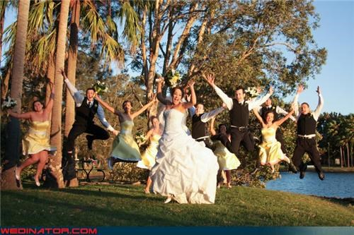 bride jumping,Crazy Brides,crazy groom,fashion is my passion,fun wedding party,funny wedding party picture,funny wedding photos,groom jumping,matching bridesmaids,surprise,were-in-love,wedding party,wedding party jumping,Wedding Themes,wedding-the-musical