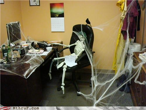 cubicle prank,decoration,halloween,skeleton