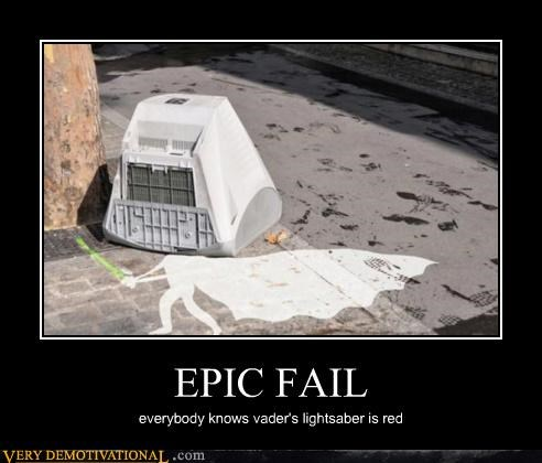 EPIC FAIL everybody knows vader's lightsaber is red