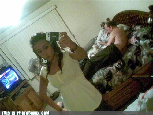bed,cellphone,mirror pic,photobomb,shirtless,wtf