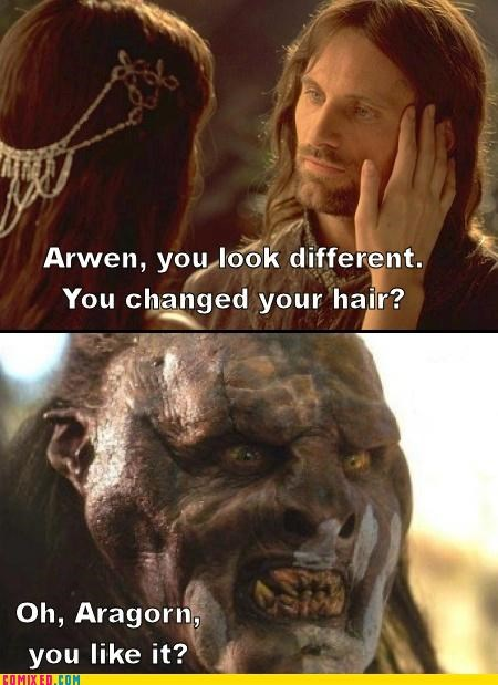 aragorn,Arwen,fashion,From the Movies,Lord of the Rings,orcs,rom com,romance