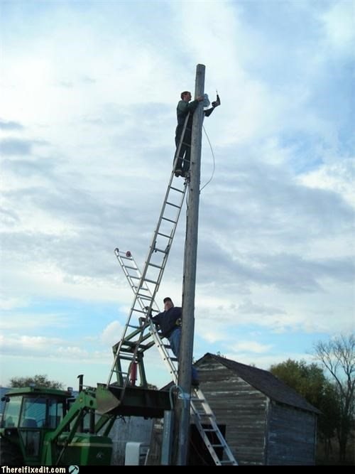 cautionary fail,ladders,Professional At Work