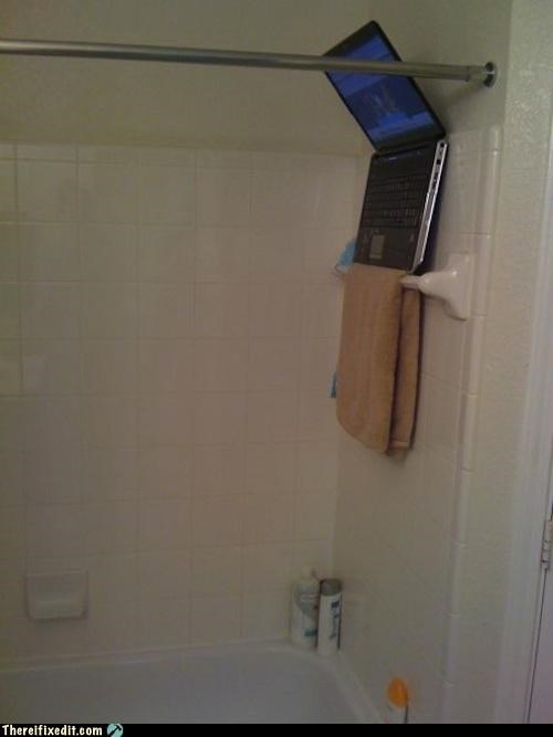 bathroom computer laptop shower