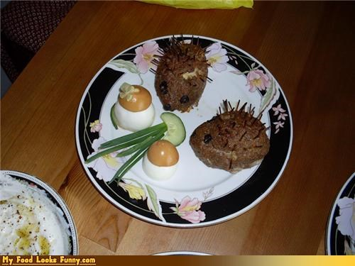 dinner,eggs,hedgehogs,meat,meatloaf