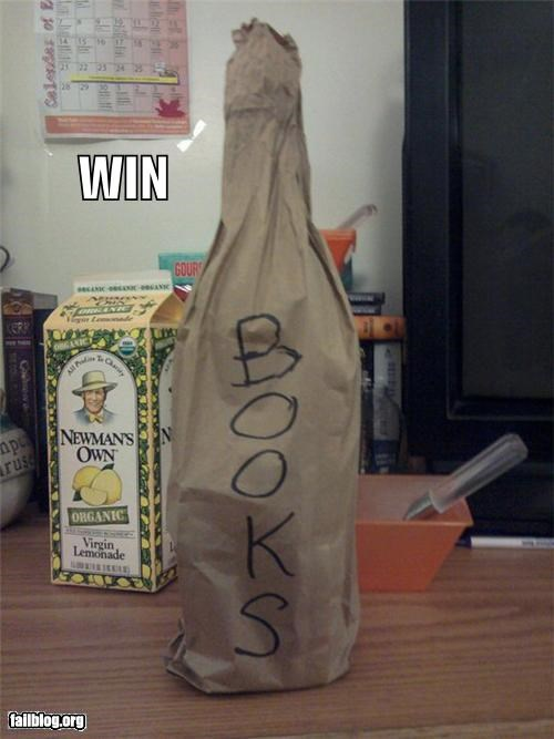 alcholo,books,brown paper bag,failboat,idea,win