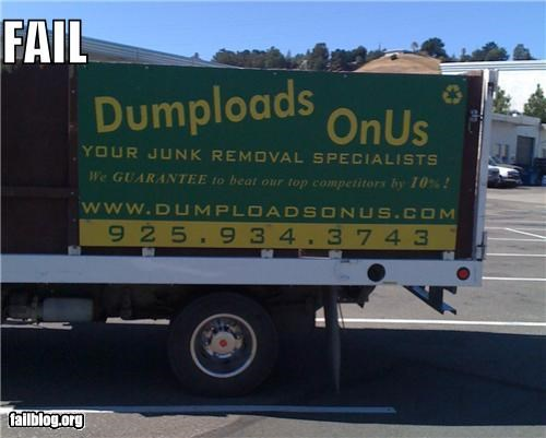 business name,dump truck,failboat,g rated,sign,slogan,think about that