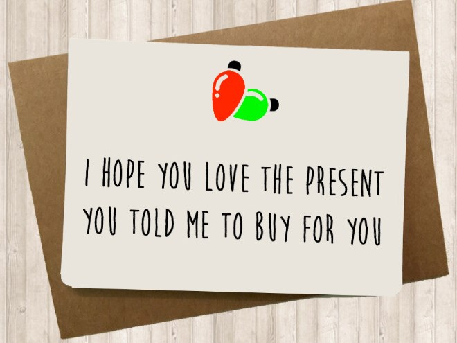 a funny list of christmas cards