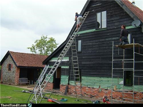 cautionary fail,ladder,Professional At Work,scaffolding