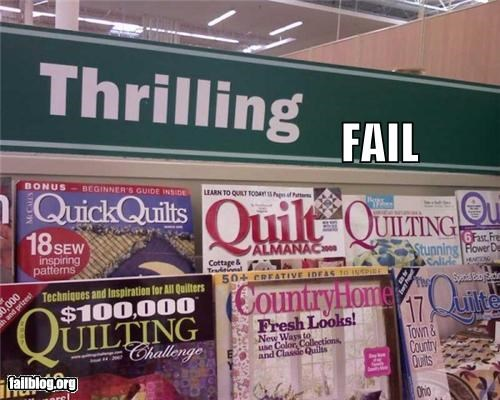 aisle,books,failboat,g rated,hobbies,quilting,sign,thrills