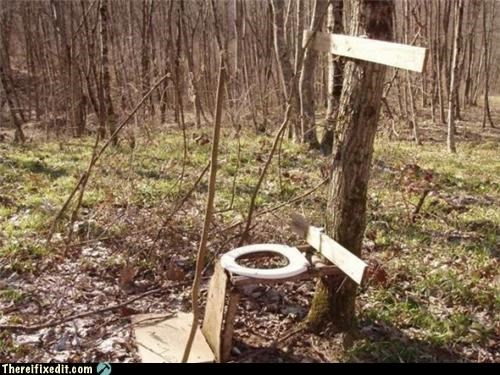 against nature Mission Improbable outdoors outhouse toilet