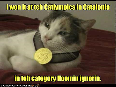 caption captioned cat catalonia category Champion human ignoring medal olympics pun won