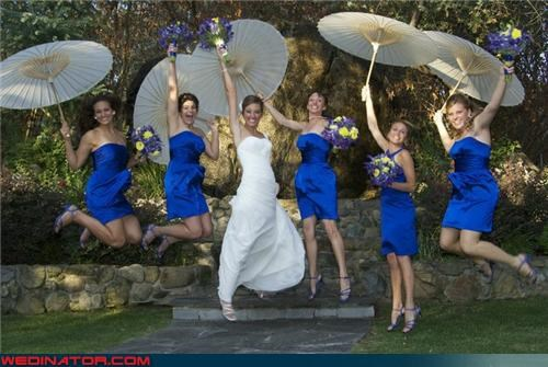 bride,bride with style,bridesmaids in blue,bridesmaids with umbrellas,cute bridesmaids picture,fashion is my passion,funny wedding photos,jumping bridesmaids,mary poppins,umbrella,wedding party,wedding party jumping,Wedding Themes