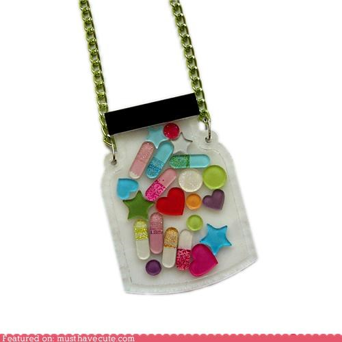 accessory,colorful,flat,glitter,Jewelry,medicine,necklace,pills,sparkles