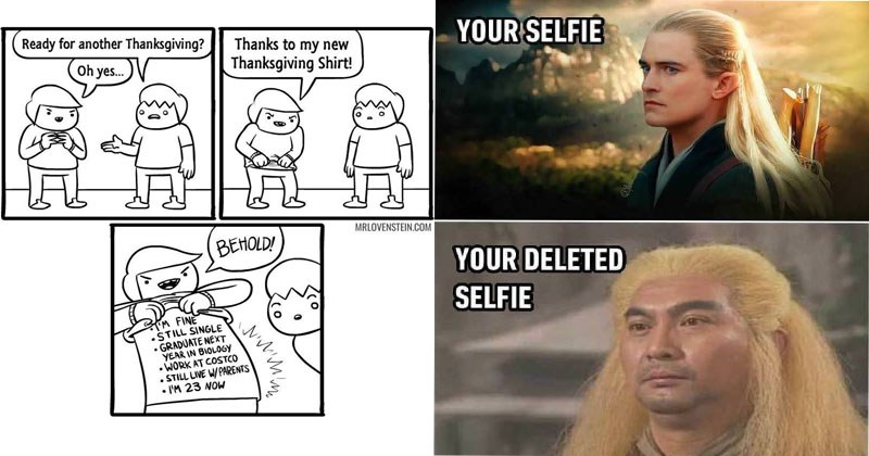 Collection funny memes and web comics, babies, family, trees, birds, animals, dogs, spongebob, lord of the rings, legolas.