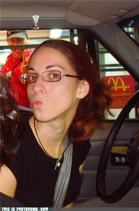 america car Champion cool guy drive thru food McDonald's photobomb red eyes - 4109671936