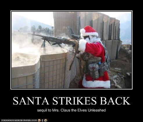SANTA STRIKES BACK sequil to Mrs. Claus the Elves Unleashed