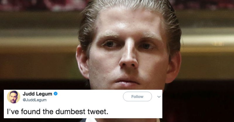 People on Twitter react to Eric Trump tweeting out defending President Trump's racism.