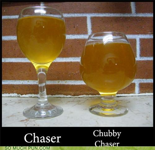 alcohol,bar,beer,booze,chaser,chubby,classless,flirting,glassware,innuendo,jug,pints,portions,snifter,tacky