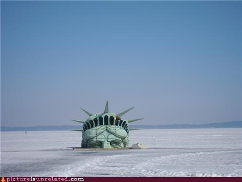 new york snow Statue of Liberty storms wtf