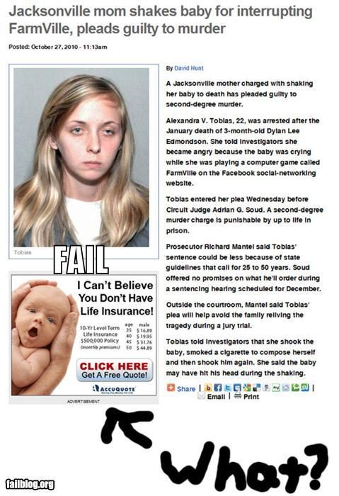 Ad Babies failboat Farmville insurance juxtaposition mothers Probably bad News yikes - 4112059392