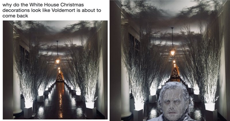 Funny memes about Melania Trump's White House Christmas Decorations.