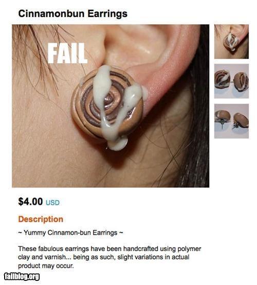 bad idea cinnamon buns earrings failboat food innuendo Jewelry - 4113630464