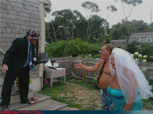 beer belly Crazy Brides crazy couple gets married crazy groom fashion is my passion Florida weddings are casual funny wedding photos kooky couple shirtless groom shirtless wedding picture were-in-love wtf - 4114689792