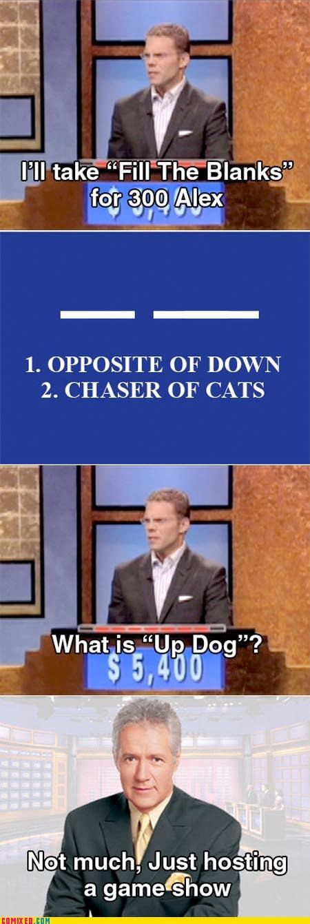 Alex Tribek Jeopardy jokes TV up dog
