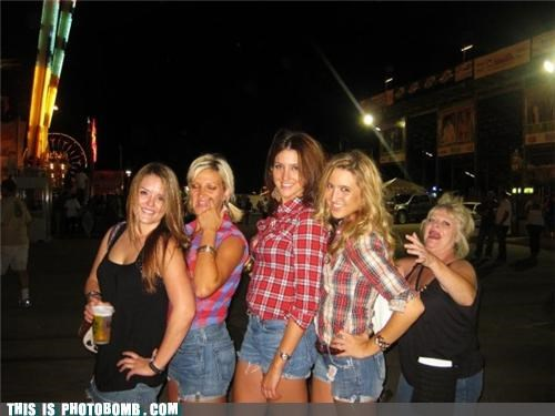 69 boys,babes,daisy dukes,flannel,group,lol,photobomb