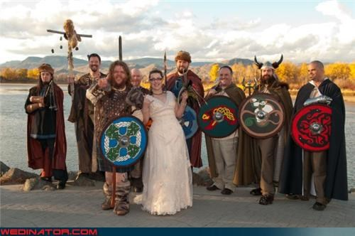 costumed wedding party Crazy Brides crazy groom fashion is my passion funny wedding photos Halloween wedding themed wedding Viking bride Viking groom Viking themed wedding Viking wedding were-in-love wedding costumes wedding party Wedding Themes - 4115529216