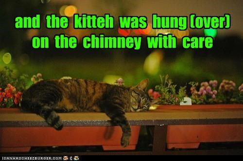 caption captioned care cat chimney christmas hanging hung hungover kitteh meowy christmas merry christmas poem sleeping story the night before christmas - 4115817472