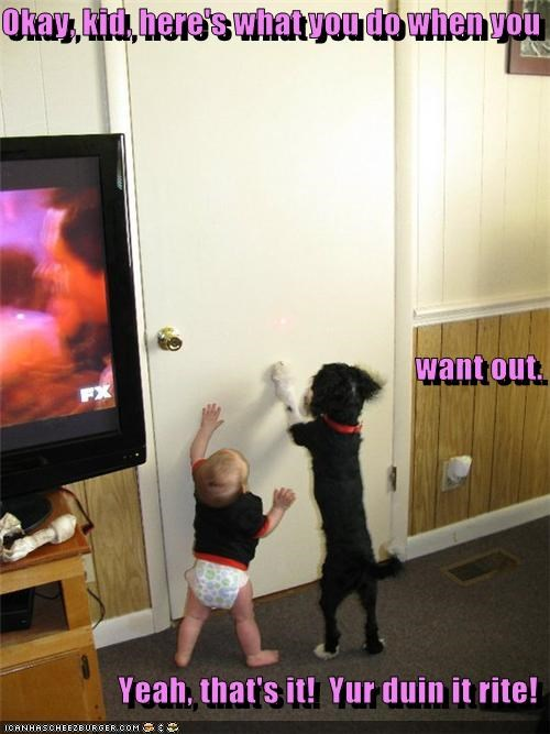 Okay, kid, here's what you do when you want out. Yeah, that's it! Yur duin it rite!