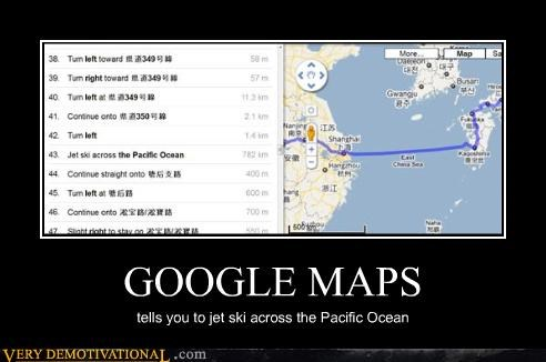 GOOGLE MAPS tells you to jet ski across the Pacific Ocean