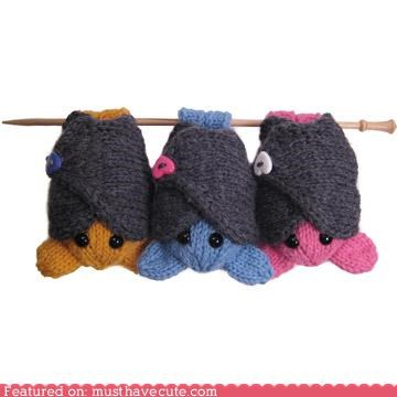 art bat buttons craft kit Knitted knitting upside down yarn