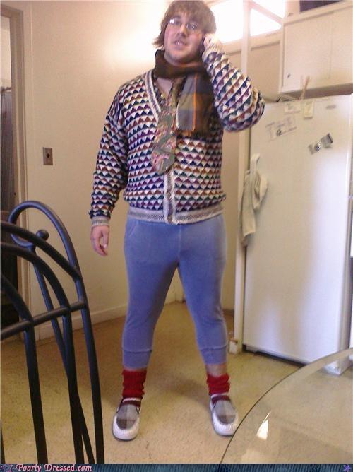 eww,hipster,pajamas,scarf,tie